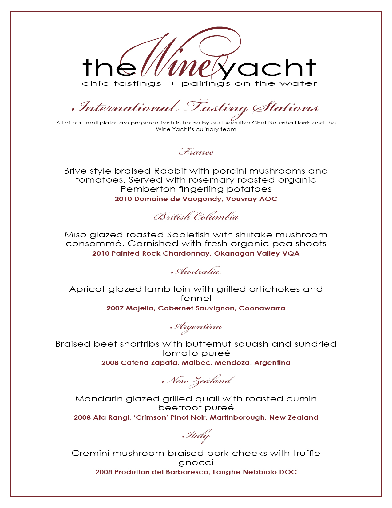 The Wine Yacht Official Launch Tasting Menu